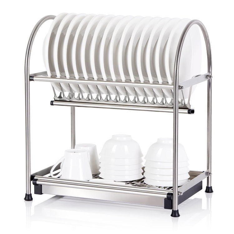 China 2 Tier Dish Rack Dish Drainer Cutlery Tableware Cup Draining