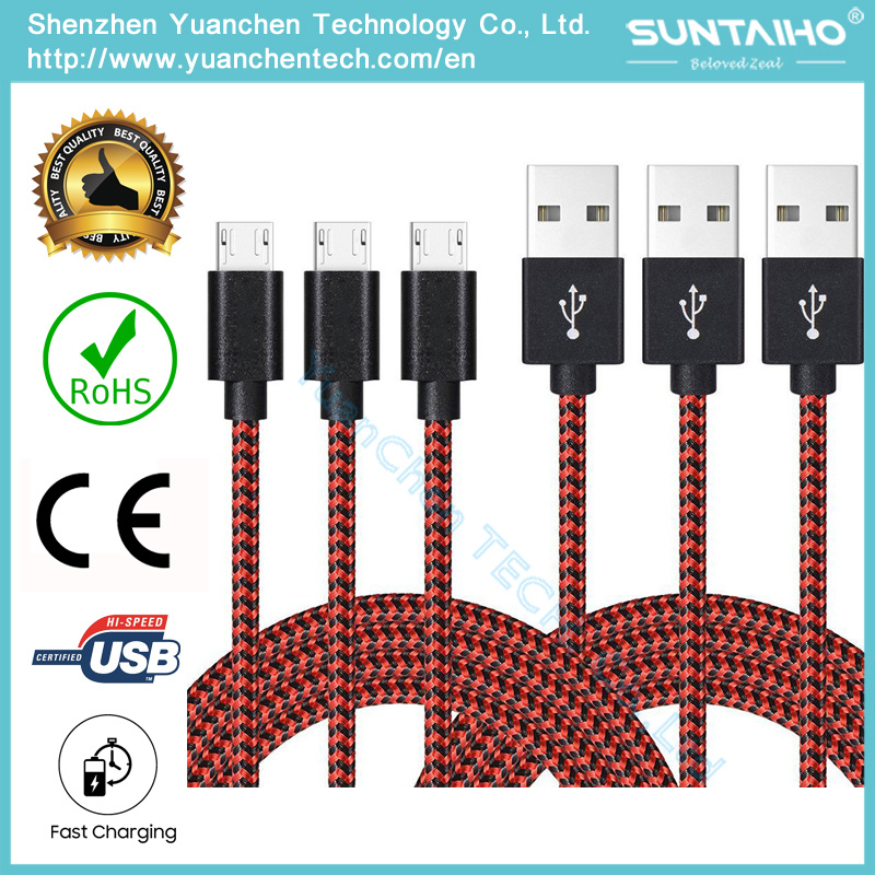 Colorful New 1m Fabric Nylon Braided Micro USB Cable Cloth Braided USB Cord Charger Cable pictures & photos