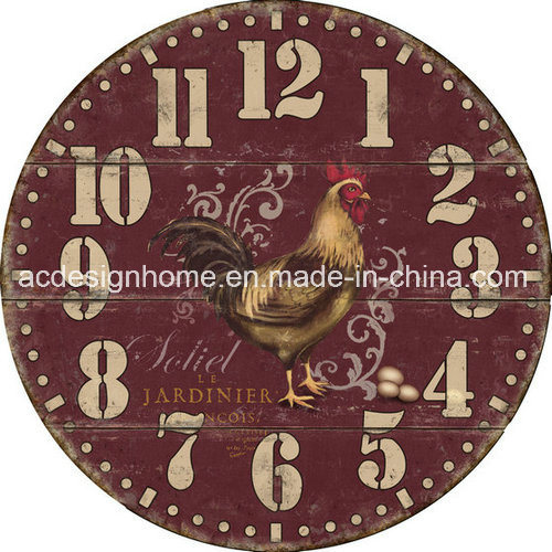 Vintage MDF Cheap Wall Clock with Chinese Rooster Design for Home ...