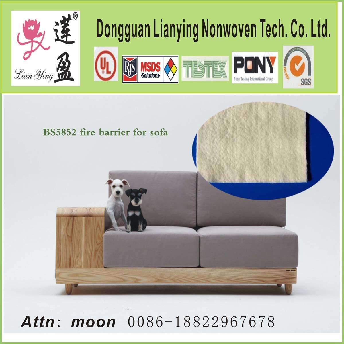 Bs5852 Fire Batting Barrier Felt For Sofa Mattress