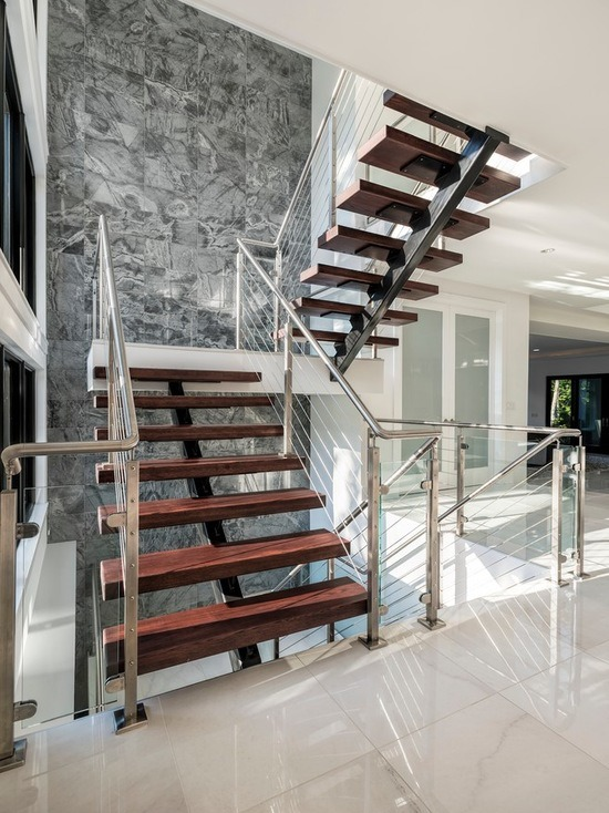 China Modern Simple Design Wooden Treads Single Stringer Straight Stairs    China Straight Stairway, Mono Stringer Staircase