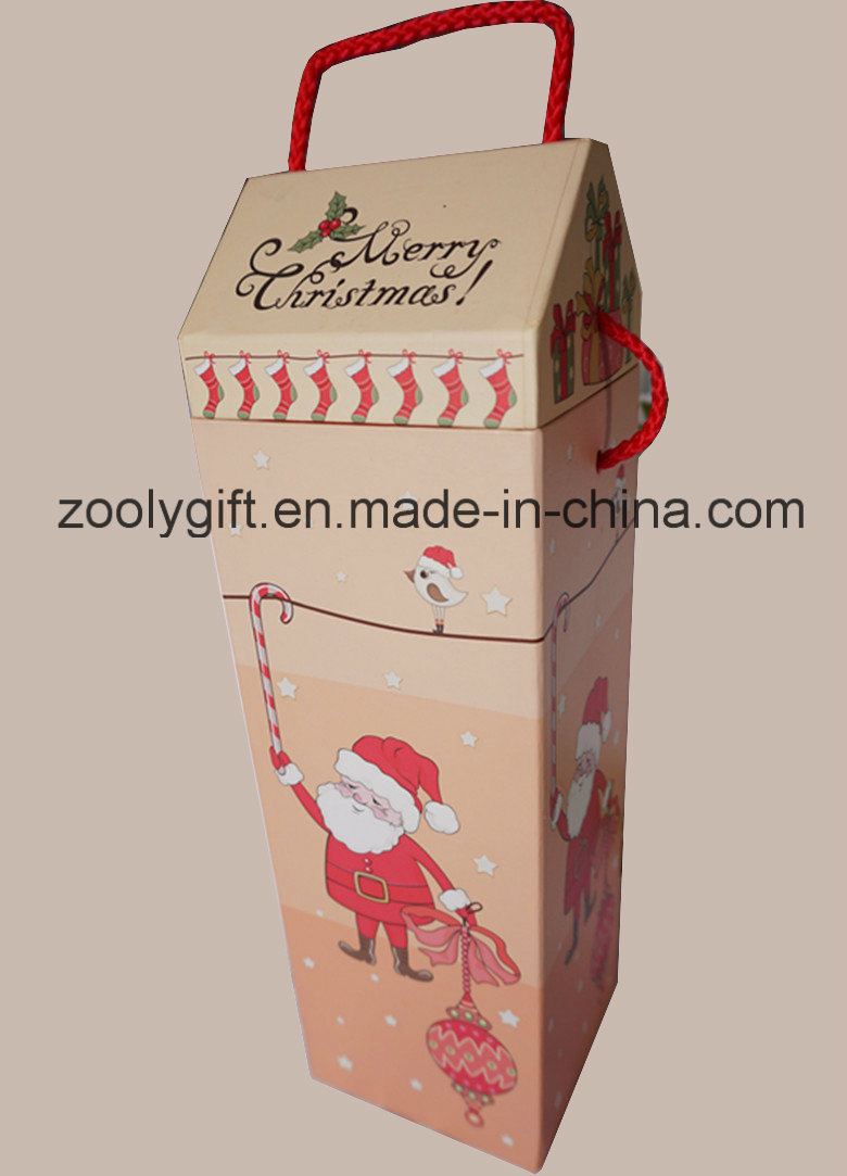 China Merry Christmas Printed House Shaped Paper Wine Gift