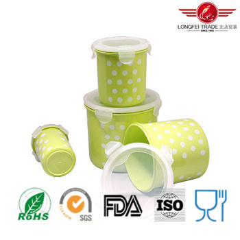 4PCS Cylindrical Plastic Food Storage Box with Airtight Lid pictures & photos