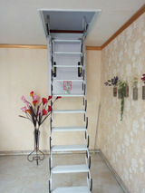 China Indoor Duplex Staircase Folding Attic Ladders Steel Retractable Stairs China Loft Ladder And Aluminum Ladder Price