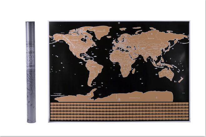 China Custom Black Gold World Travel Map Scratch Off World Map With
