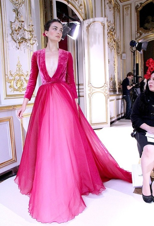 China Evening Dress Prom Dress Ball Gown Myriam Fares V-Neck Pink ...