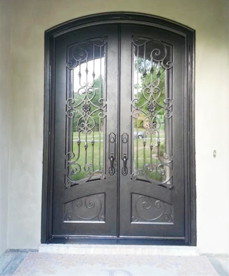 China Hot Sales Security Custom Double Entrance Wrought Iron Glass