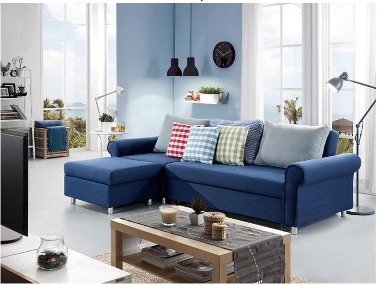 China Dark Blue Fabric Sofa Bed For