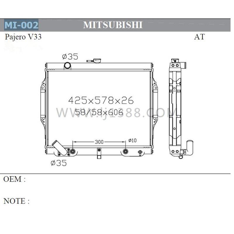engine cooling car radiator for mitsubishi pajero v33′92-96