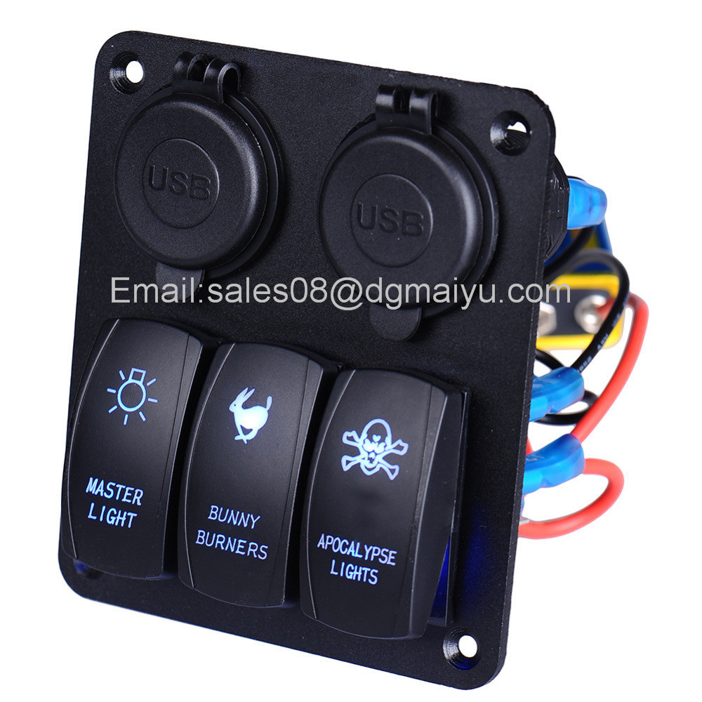Waterproof 3 Gang Car Switch Panel LED Rocker with 2 USB Socket Cigaretter Plug for Marine/Boat/RV 12V
