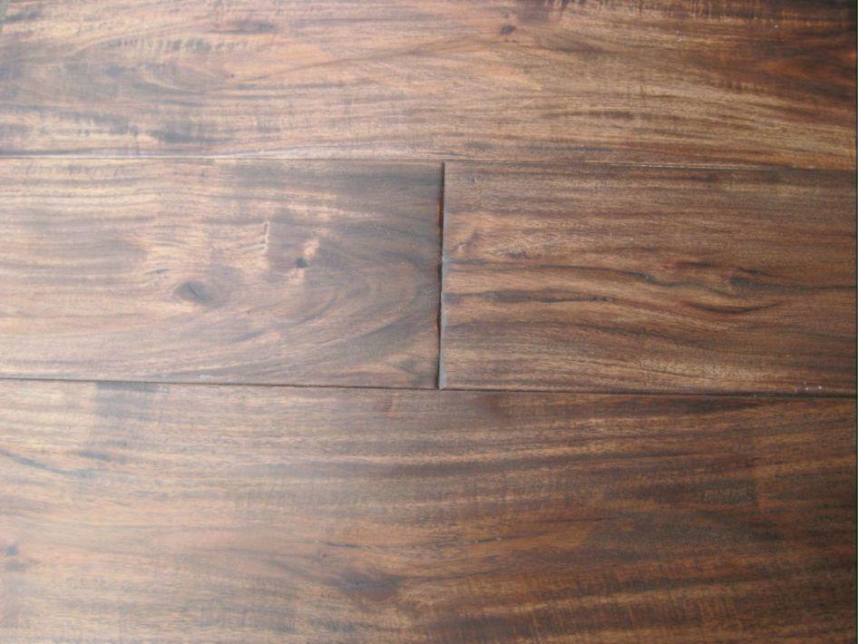 China Espresso Hand Sed Acacia Hardwood Flooring Deep Bevelled Edge Handsed