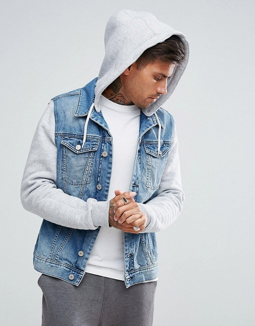 Hot Item Men Cotton Spread Collar Button Placket Wholesale Denim Jacket With Jersey Sleeves Hood