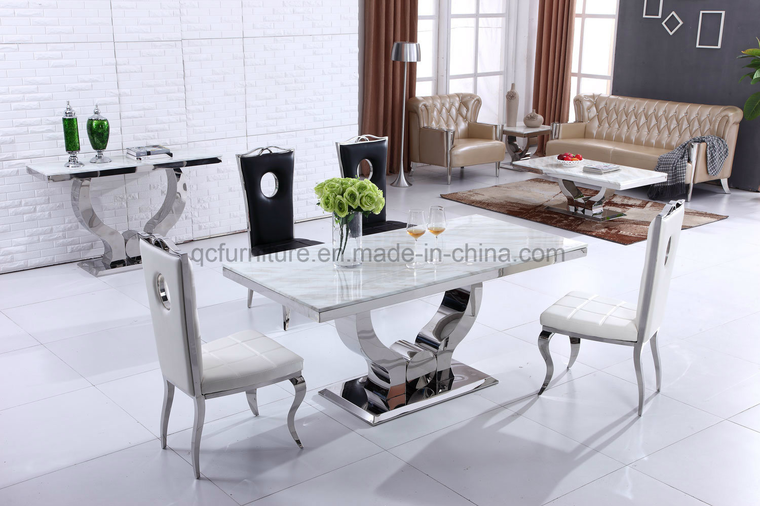 China 2019 Most Popular 8 Seater Marble Top Dining Table Sets