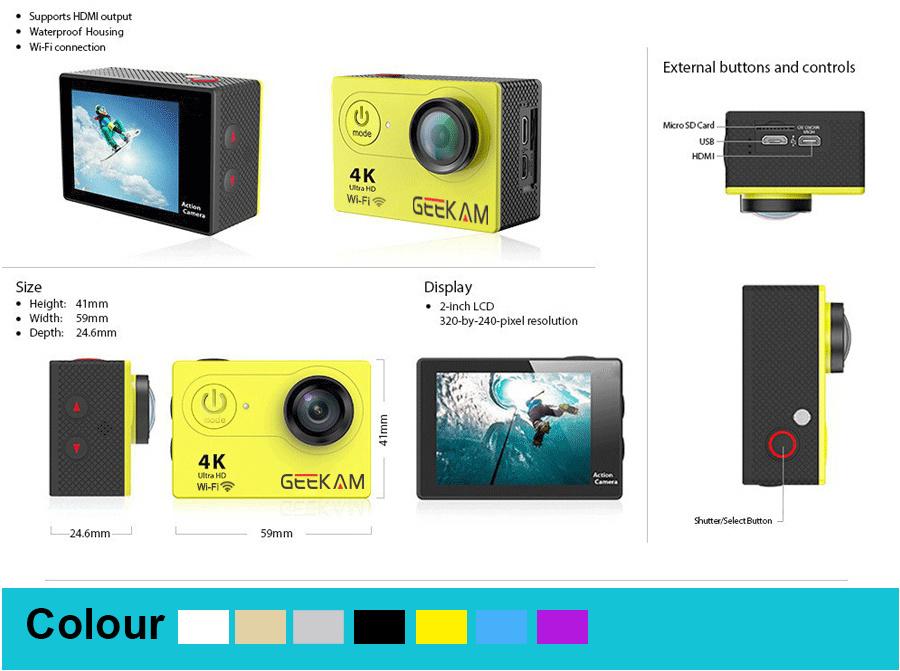 [Hot Item] S9 Action Camera S9r Ultra HD 4K 1080P 720p WiFi Go Underwater  Waterproof PRO Helmet Cam DVR Sport Cam