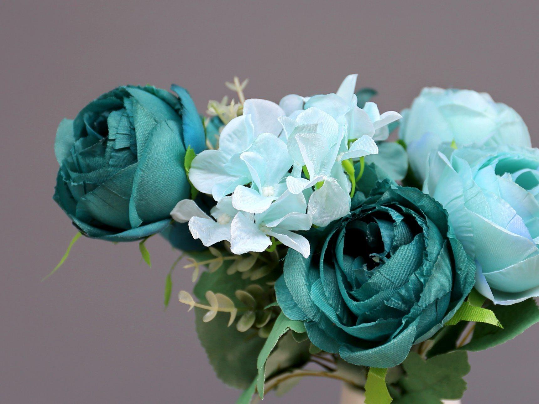 China Artificial Flower Fake Blue Flower Artificial Peony Flower