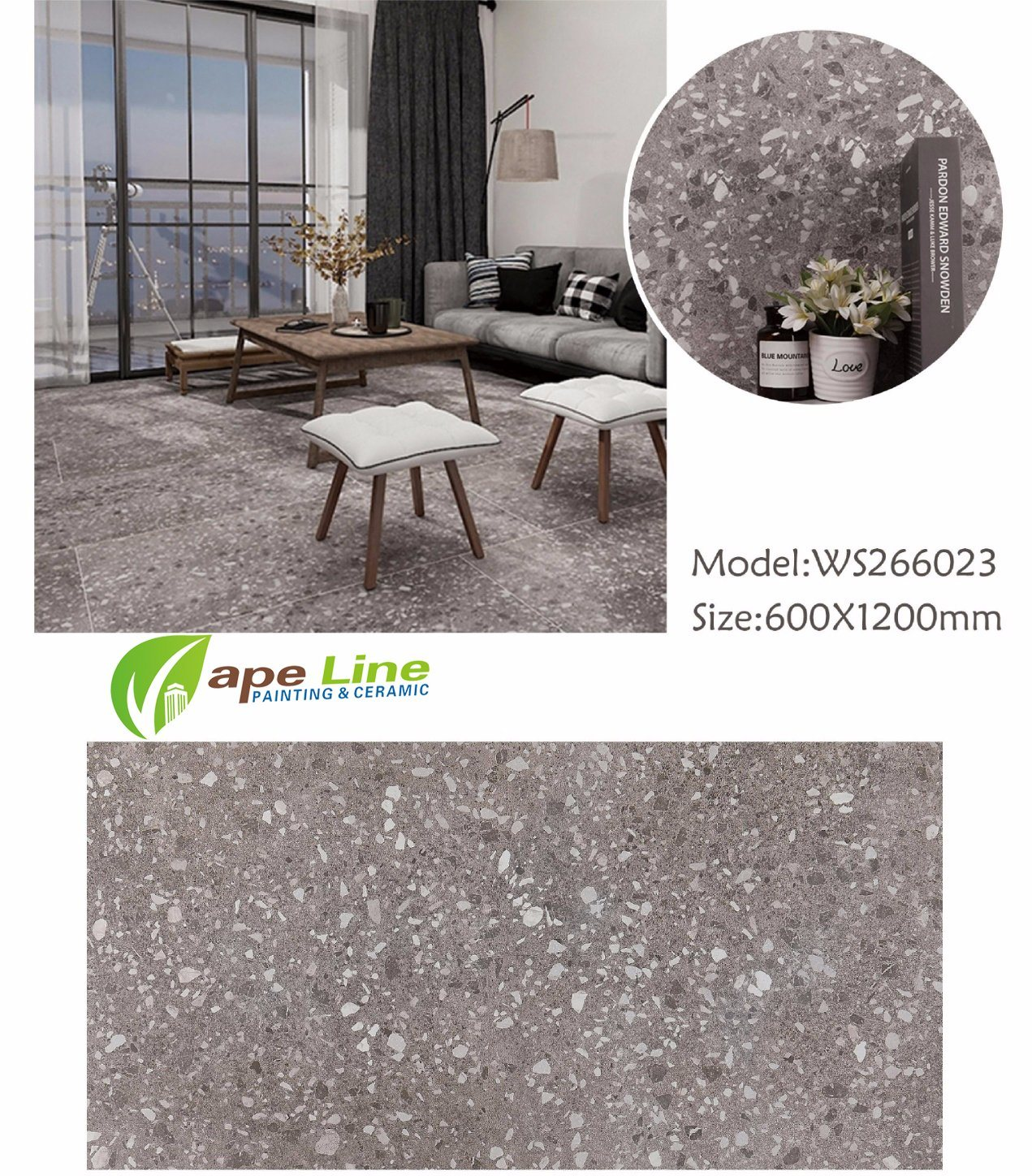 Hot Item Foshan Terrazzo Flooring Tile Matte Glazed Ceramic Waist Line 26023