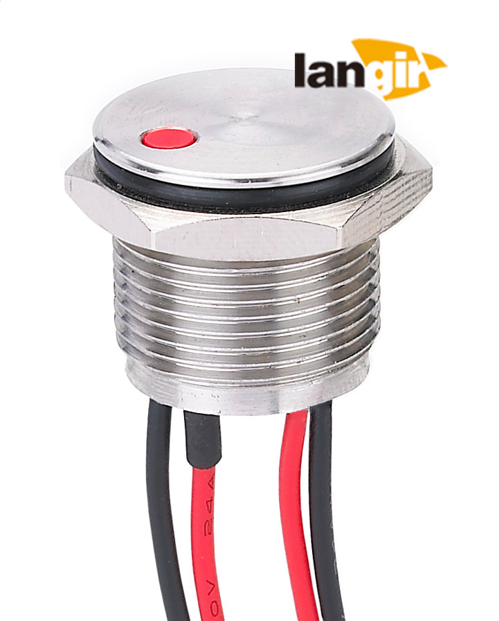 16mm DOT Illuminated Stainless Steel 316L Piezo Switch, IP68 Waterproof Metal Piezo Switch (PZS16-D)