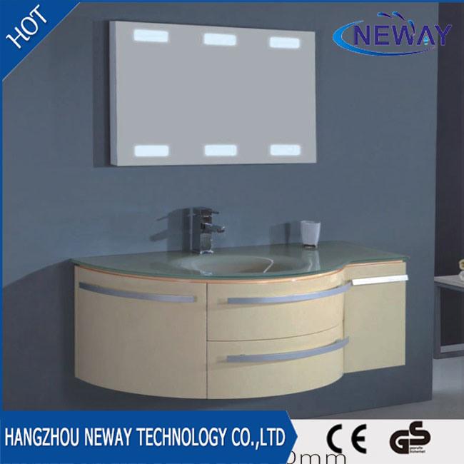 China Wall Mounted Pvc Glass Basin Led Mirror Bathroom Cabinet Vanity Furniture