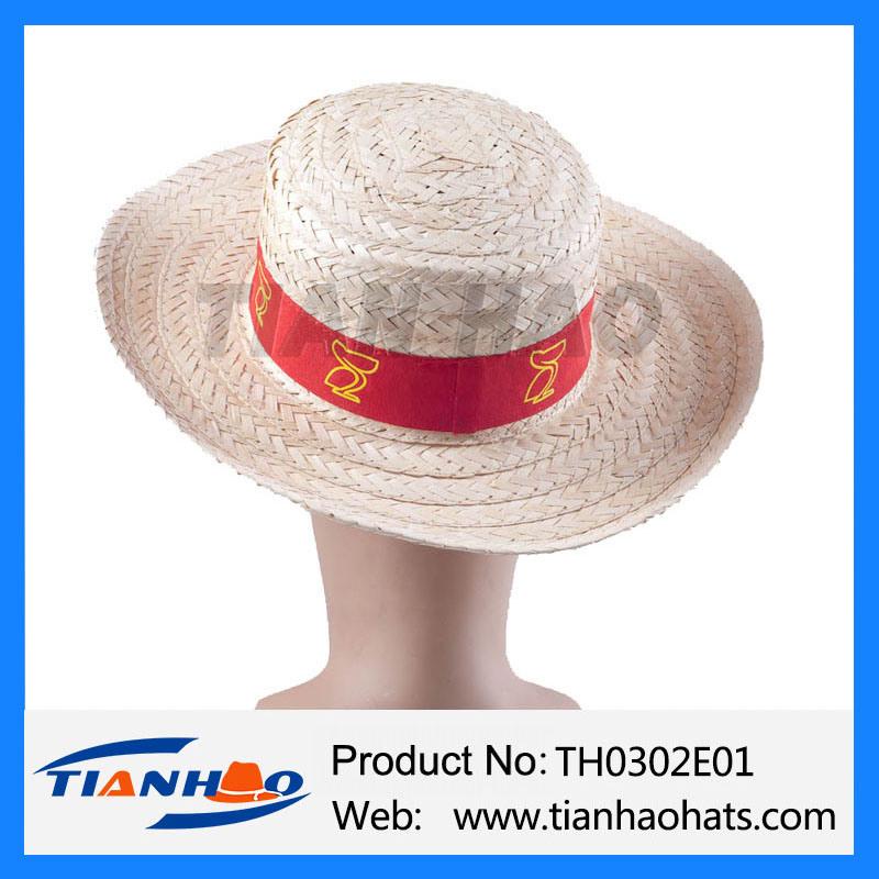 China Fashion Wheat Straw Boater Hat with Custom Logo Photos ... f721a51408c