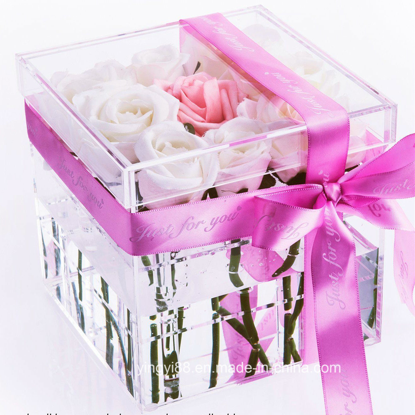 China Customized Clear Color 9 Rose Acrylic Flower Box with Lid ...