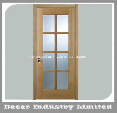 Prehung Natural Oak Interior Doors With Glass Panels And Frame