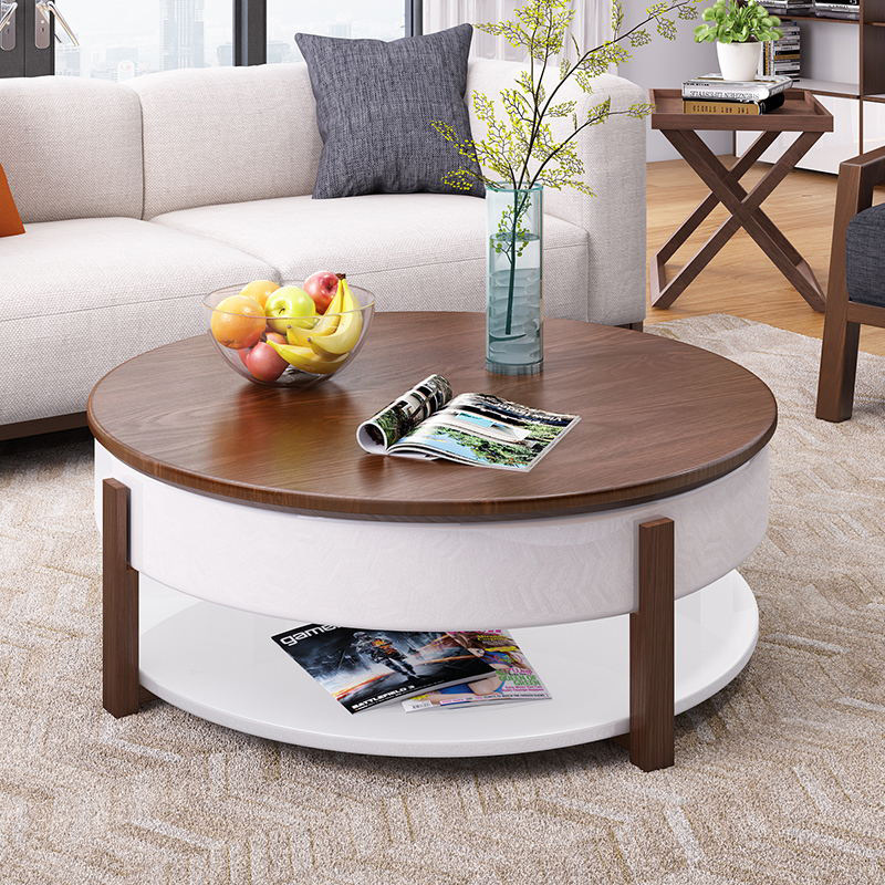 Simple Burlywood Round Coffee Table, Small Round Side Table With Drawer