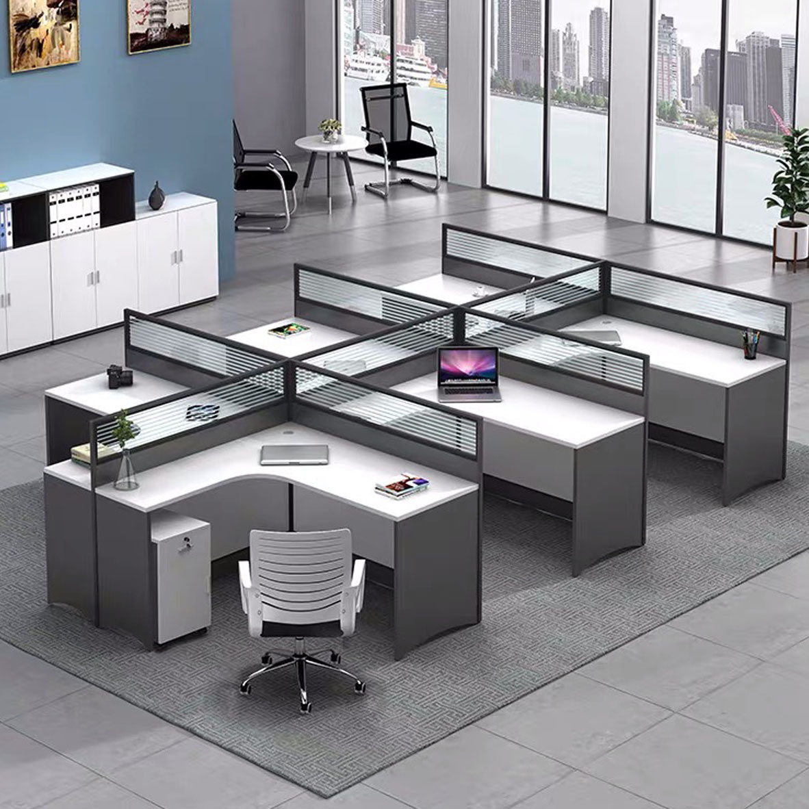 China Modern Office Cubicles Partitions Office 6 Person Office Workstation - China Workstation, Partition