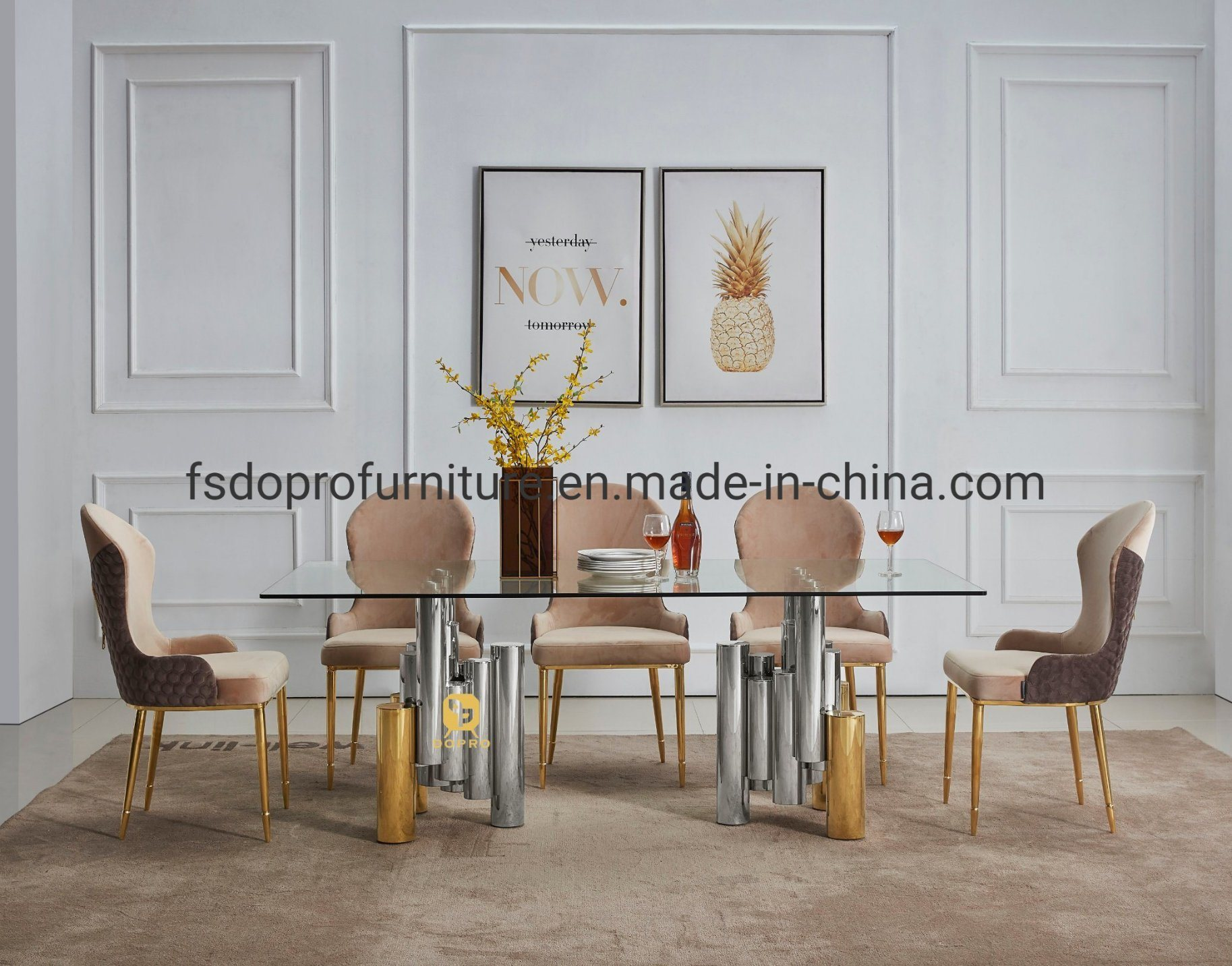 Design Glass Dining Table Set, Pineapple Dining Room Chairs