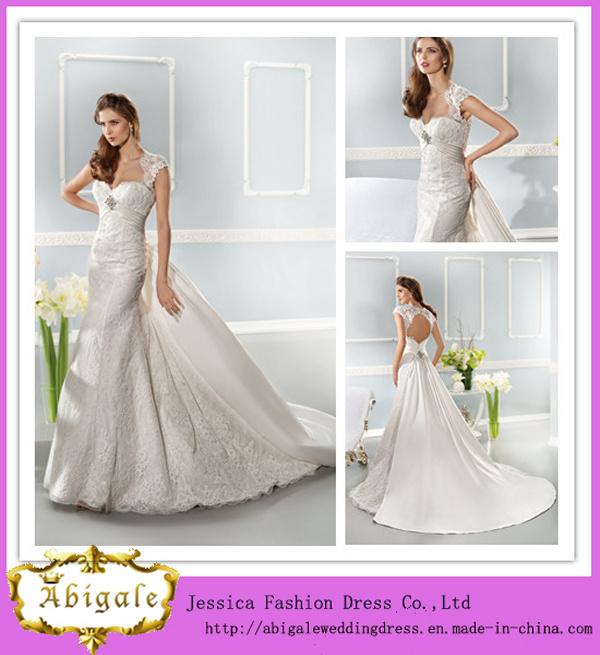 China Elegant Fashionable White Full Length Sheath Sweetheart Cap Sleeves Keyhole Back Lace Wedding Dress With Detachable Train ED10003