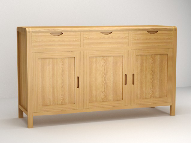 Hot Item 3 Door Drawer Solid Oak Wooden Cabinets With Sgs