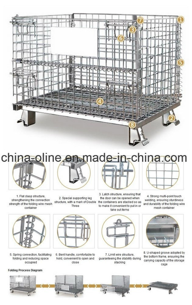 Stackable Folded Storage Wire Mesh Container pictures & photos
