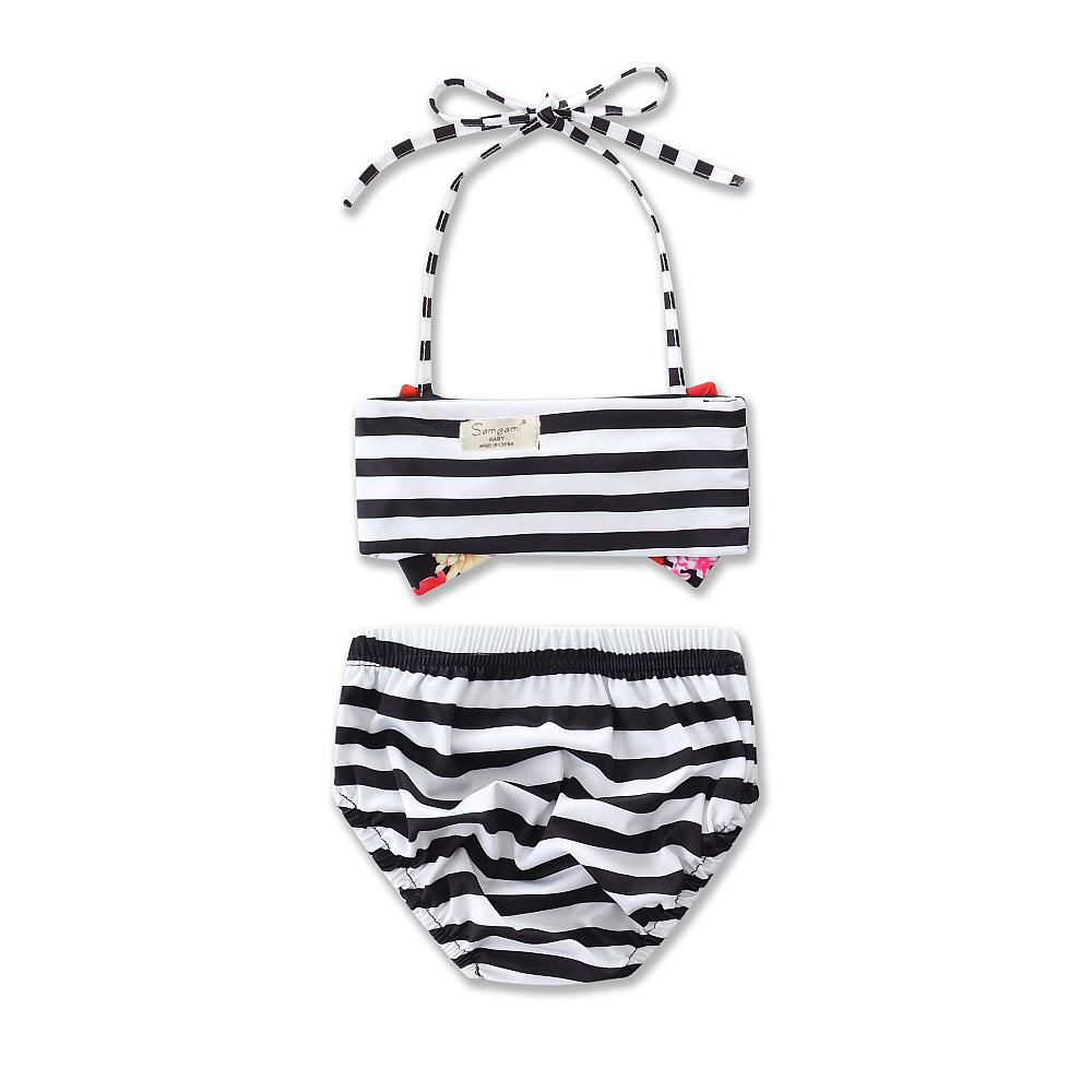 1ceb9e6e2b China Baby Little Girls Flowers Print Bowknot Bandage Bikini Bathing  Swimwear - China Baby Bikini, Baby Bathing Suit