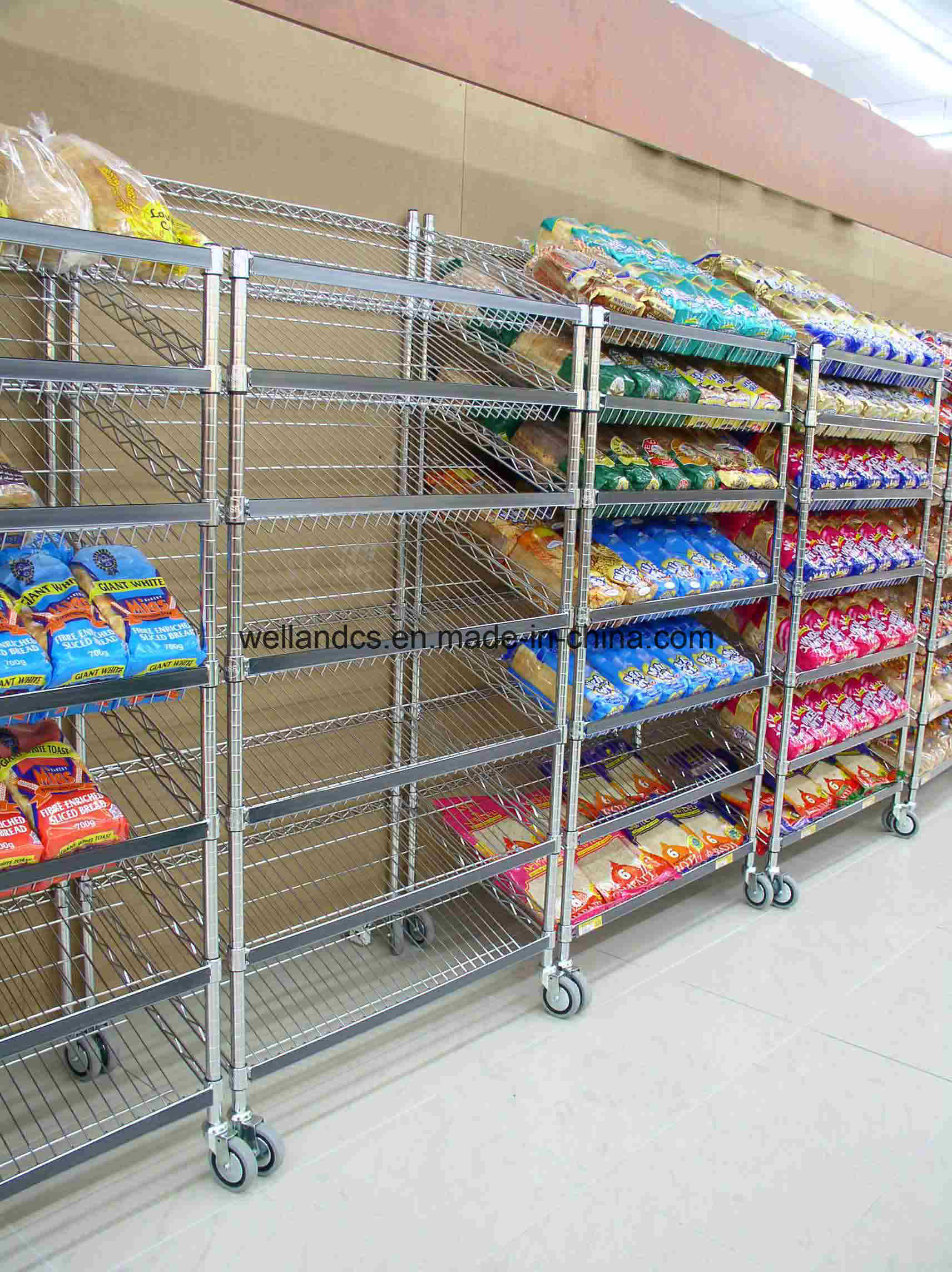Hot Item Wholesale Chrome Metal Wire Supermarket Gondola Shelving Rack