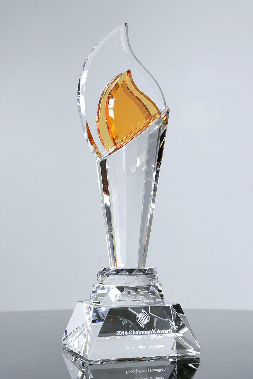 Crystal Obelisk on Black Base Corporate Gifts for Outstanding Performance Awards Trophies (#5235, #5236, #5237)