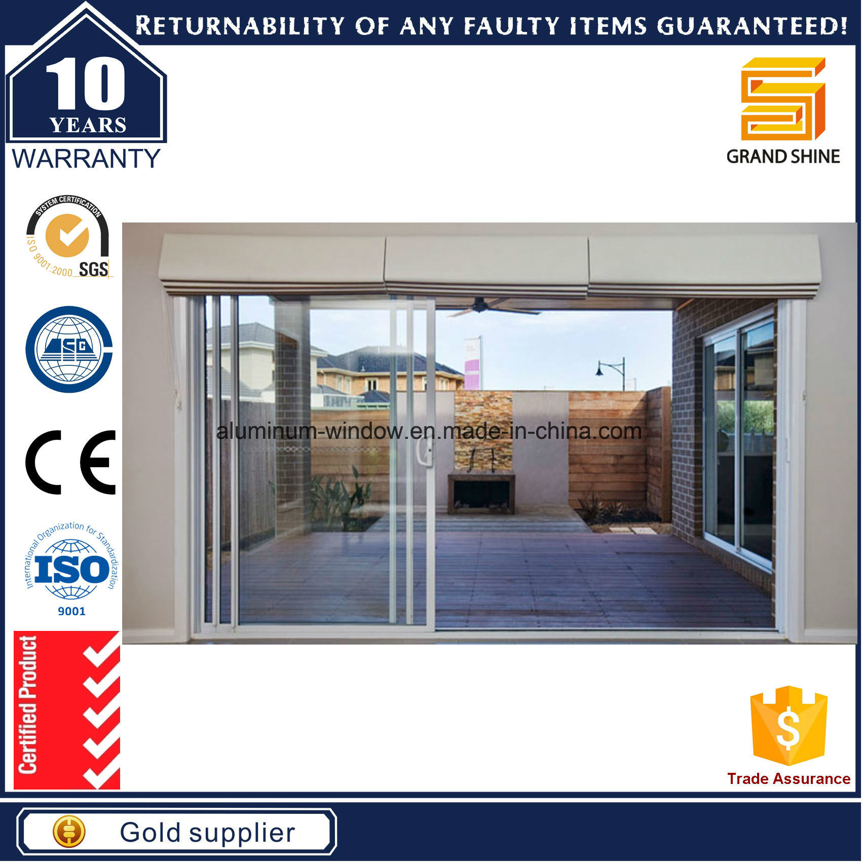 China Factory Wholesale Good Quality As2047 Warehouse Sliding Door
