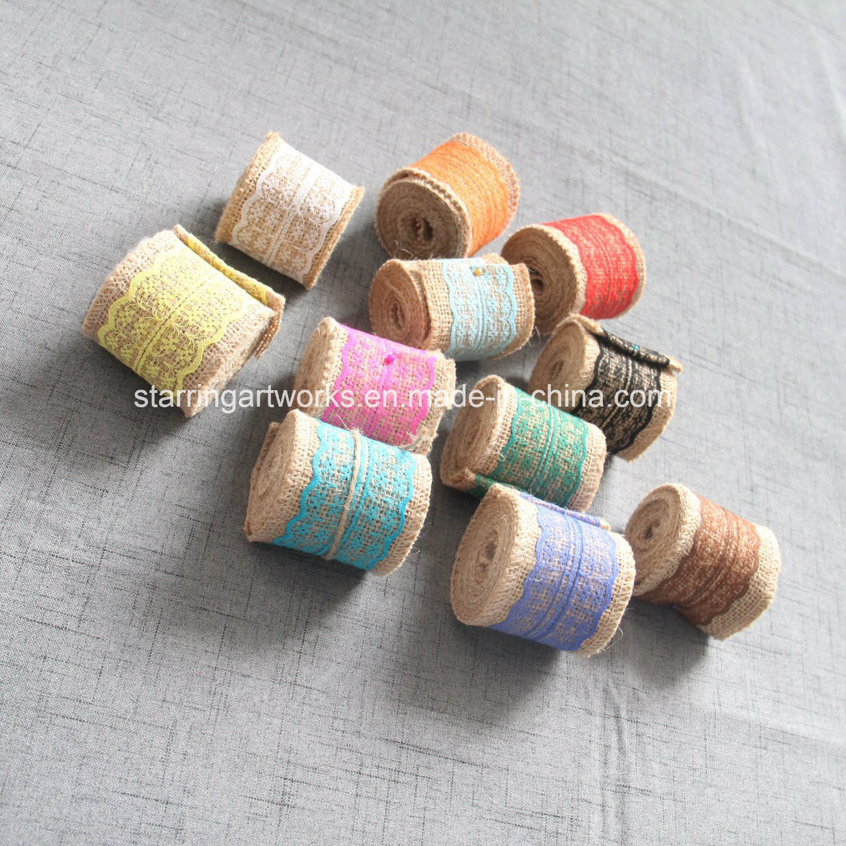 2018 New Products Jute Ribbon with Mesh in Various Color pictures & photos