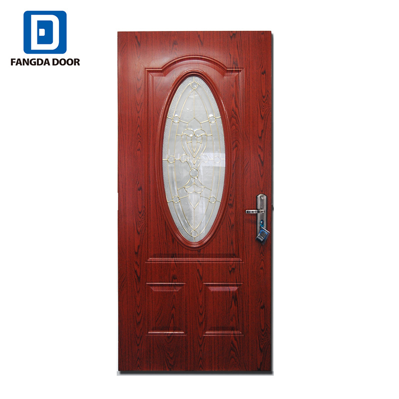 China Decorative Small Oval Tempered Glass Insert Steel Door China