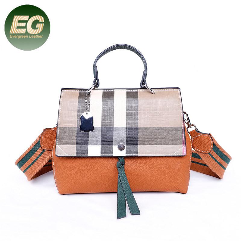Tartan-Orange Custom Waterproof Travel Tote Bag Duffel Bag Crossbody Luggage handbag