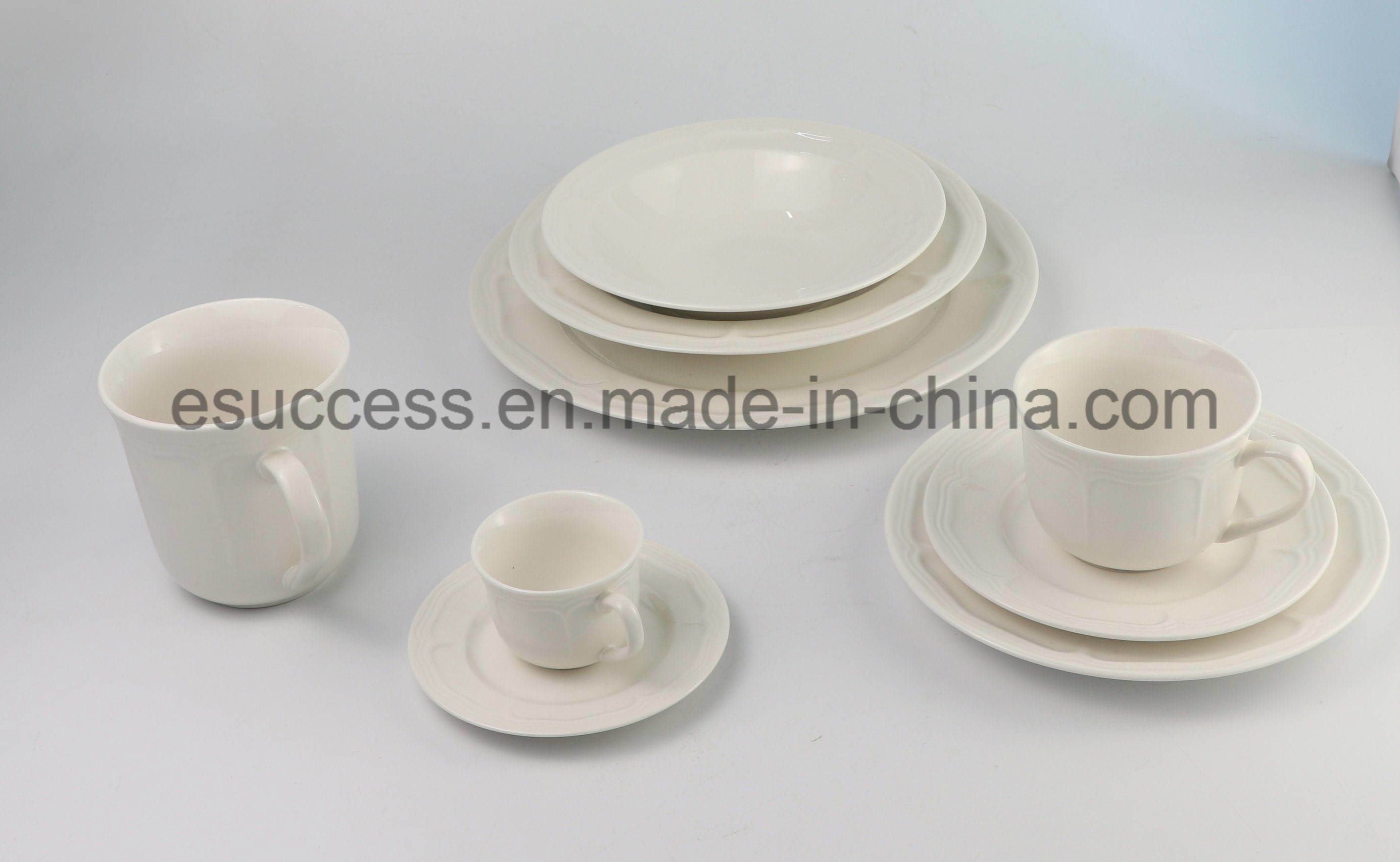 [Hot Item] China Factory Cheap Wholesale Embossed China Daily-Used  Dinnerware