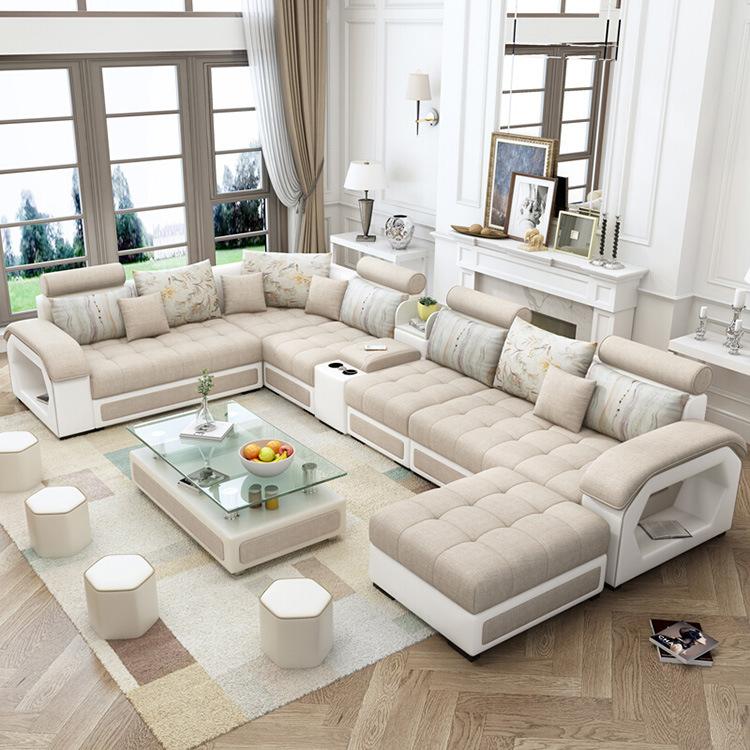 [Hot Item] Living Room Furniture Modern Leisure U Shape 9 Seater Sectional  Corner Fabric Sofa Set