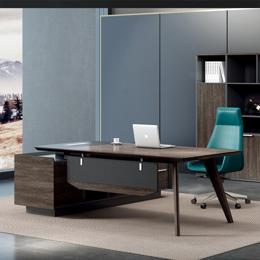 - China L Shape Manager Office Table Computer Desk With Solid Wood