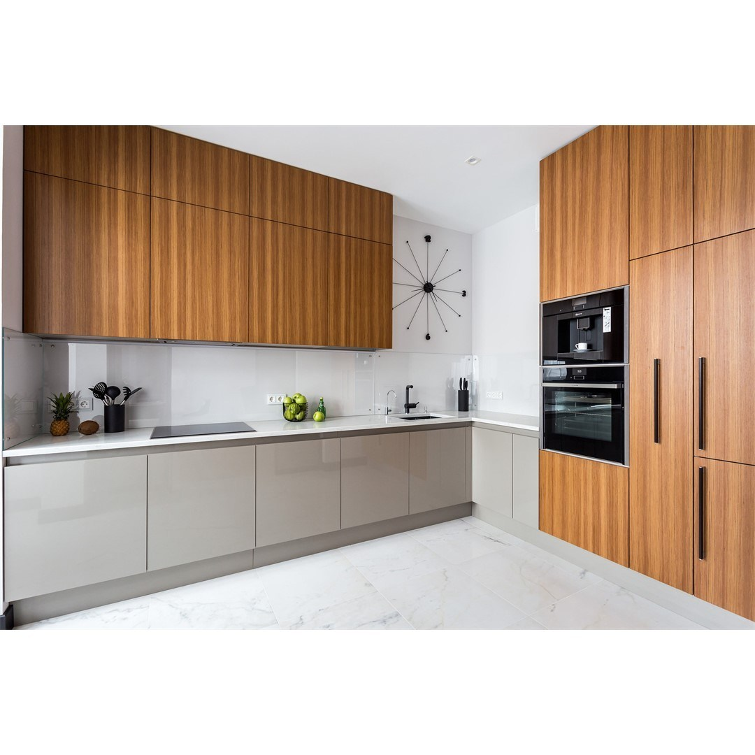 China High Gloss Grey Color Lacquer And Wood Grain Kitchen Cabinets China Furniture Kitchen Cabinets