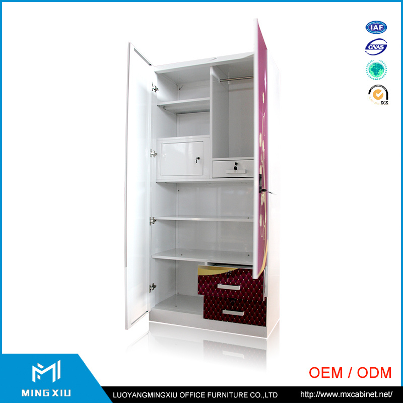 Steel Furniture Producer Cheap 2 Door Steel Clothes Indian Transfer Printing Wardrobe pictures & photos