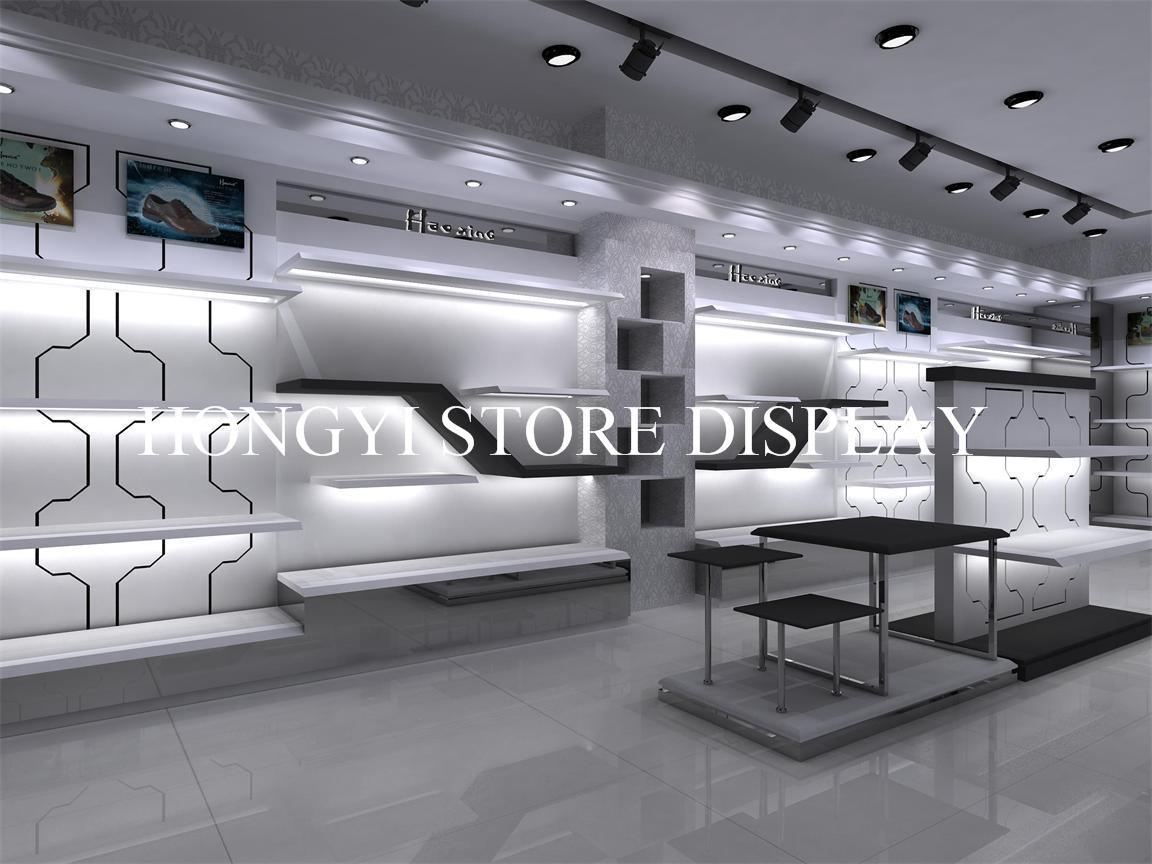 Men Shoes Store Fixture With Display Table And Wall Stand, Shoes Shop  Decoration