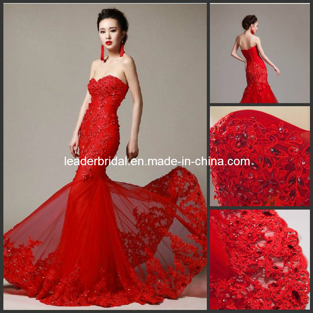 China Red Wedding Dress Lace Mermaid Corset Bridal Wedding Gowns ...