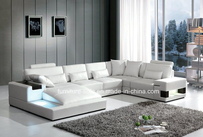 High Back White Sectional Leather Sofa