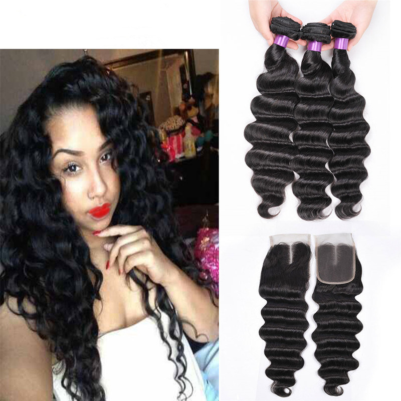 China Loose Deep Wave With Closure 8a Indian Virgin Hair With