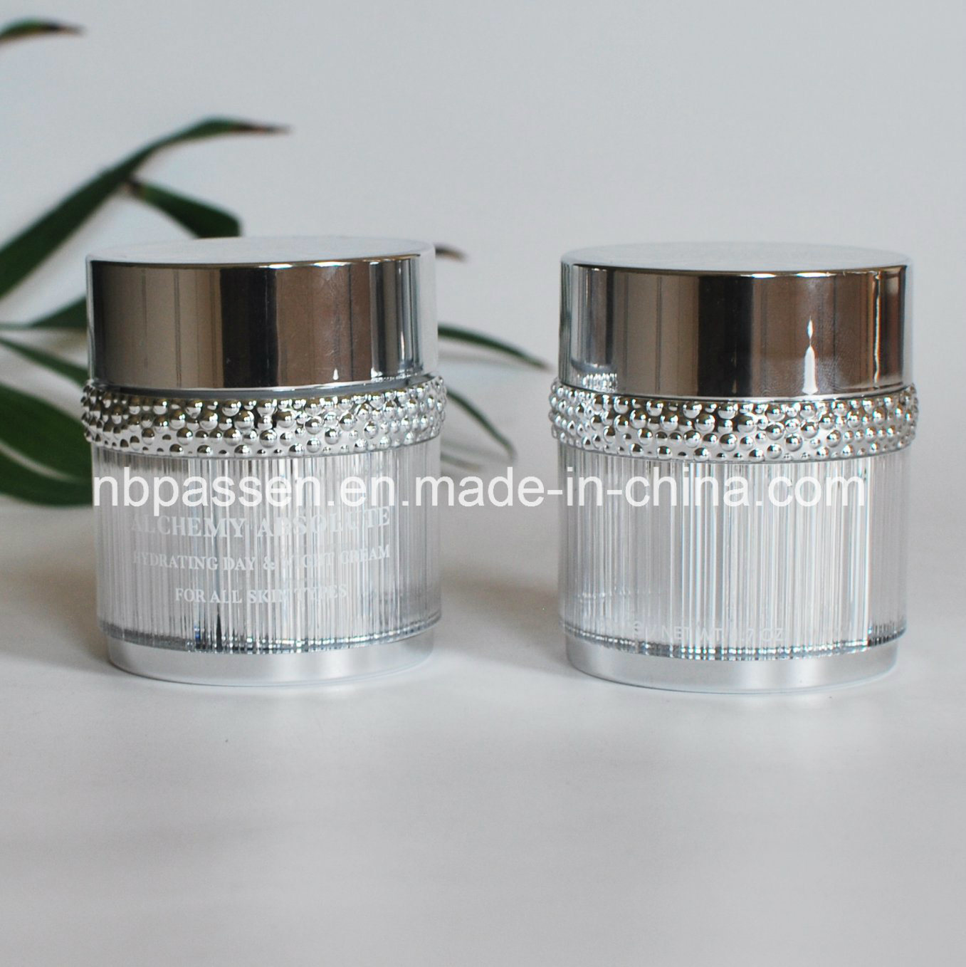 50g Glossy Silver Acrylic Cosmetic Jar with Particle Ring (PPC-NEW-101)