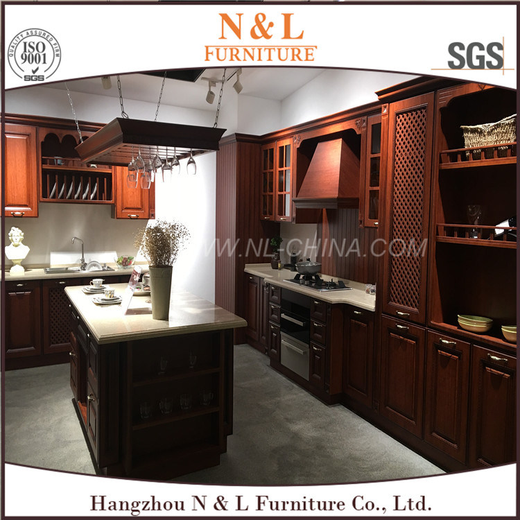 China N L American Poplar Solid Wood Modern Kitchen Cabinet