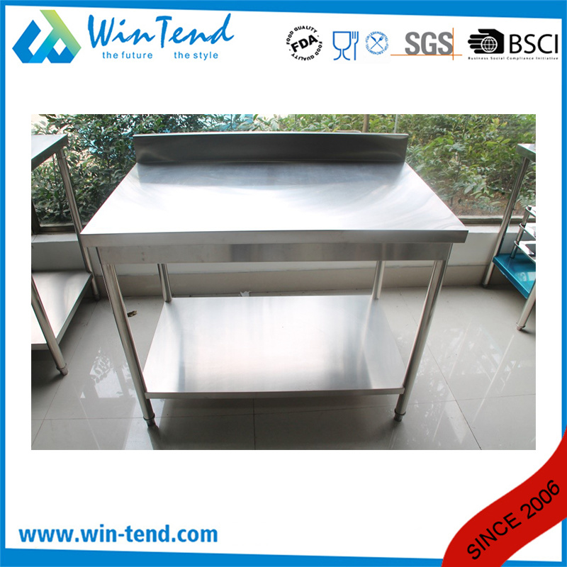 Stainless Steel Round Tube Shelf Reinforced Robust Construction Solid Worktable with Backsplash and Height Adjustable Leg pictures & photos